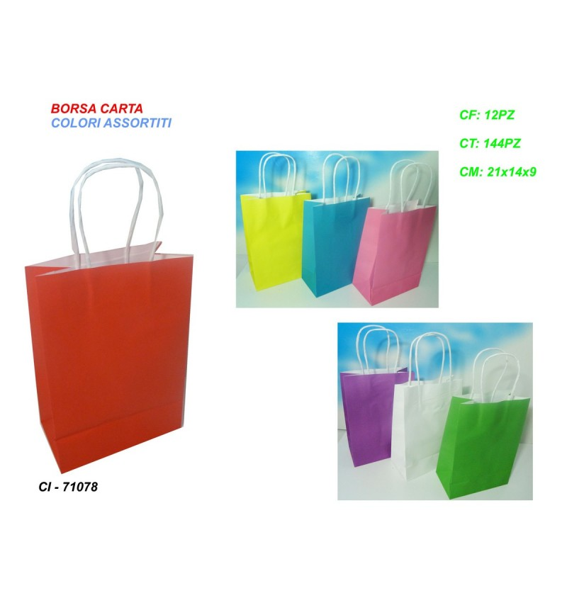 BORSA CARTA 21x15x8 COLORI ASS